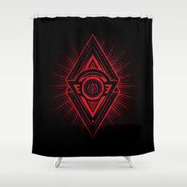 The Eye of Providence is watching you! (Diabolic red Freemason / Illuminati symbolic) Shower Curtain