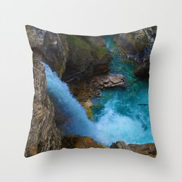 Stanley Waterfall & Beauty Creek in Jasper National Park, Canada Throw Pillow