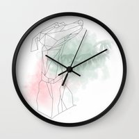 greyhound Wall Clocks featuring greyhound  by Ingrid Winkler
