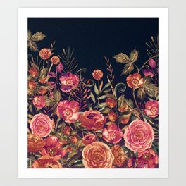 Vintage Garden 3 (Night Flowers) Art Print