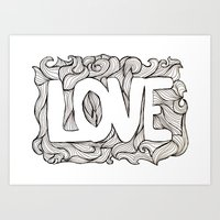 Love hand lettering and doodles elements sketch background with waves Art Print