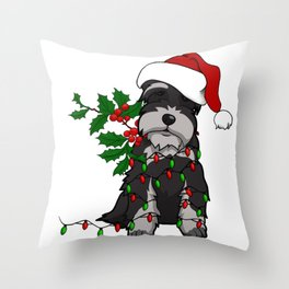 Black and White Christmas Schnauzer Throw Pillow