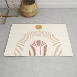 Geometric Lines in Terracotta and Beige 14 (Rainbow and Sun Abstract) Rug