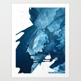 4 am Thoughts [4]: a minimal abstract painting in blue by Alyssa Hamilton Art Art Print