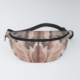 brown Rorschach test, watercolor, monotype, abstract symmetric painting Fanny Pack