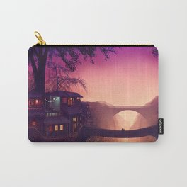 Romantic Couple On Bridge In Idyllic Little Town Above Valley Anime Purple Shade Ultra HD Carry-All Pouch