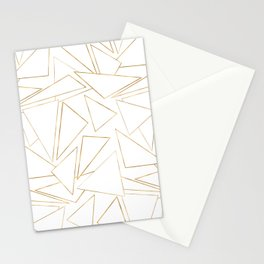 Modern Minimalist Gold White Strokes Triangles Stationery Cards