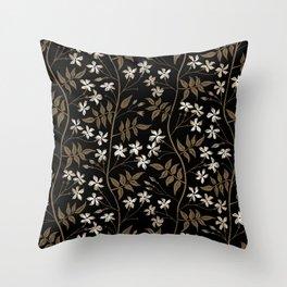 Star jasmine creeper - ochre, white and black Throw Pillow