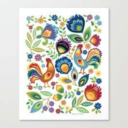 Polish Folk Roosters White Canvas Print