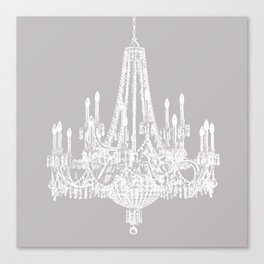 Chic White and Gray Chandelier   Canvas Print