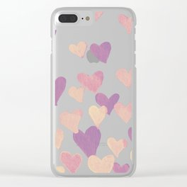 Valentine's Day Watercolor Hearts - pastel pink Clear iPhone Case