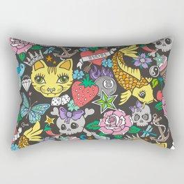 Tattoo Cats,Roses,Strawberry,Skulls Rectangular Pillow