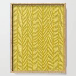 Chartreuse yellow herringbone Serving Tray