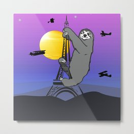 Sloth Claim The Eiffel Tower Metal Print