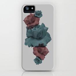 Glitch Roses Gray iPhone Case