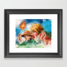 Sophie and Howl from Howl's Moving Castle Tra-Digital Painting Framed Art Print