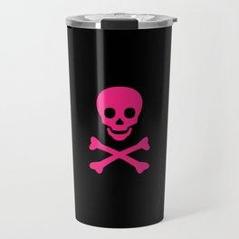 SKULL - BLACK & HOT PINK Travel Mug