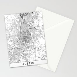 Austin White Map Stationery Cards