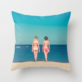 TWO WOMEN WEARING BIKINI STANDING ON SHORE Throw Pillow