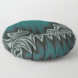 Fractal Tribal Art in Pacific Teal Floor Pillow