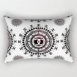 Fashion Icon Black and White Designer Mandala Textile Rectangular Pillow