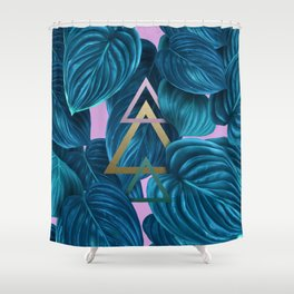 tropical turquoise leaves pattern Shower Curtain