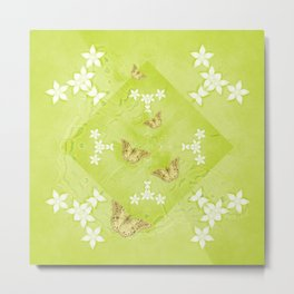 The Queen butterfly and gold butterflies in vibrant green Metal Print
