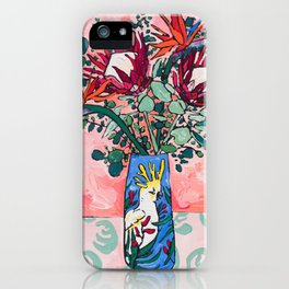 Cockatoo Vase on Painterly Pink iPhone Case