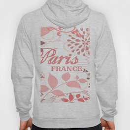 Pink Paris France Print Hoody
