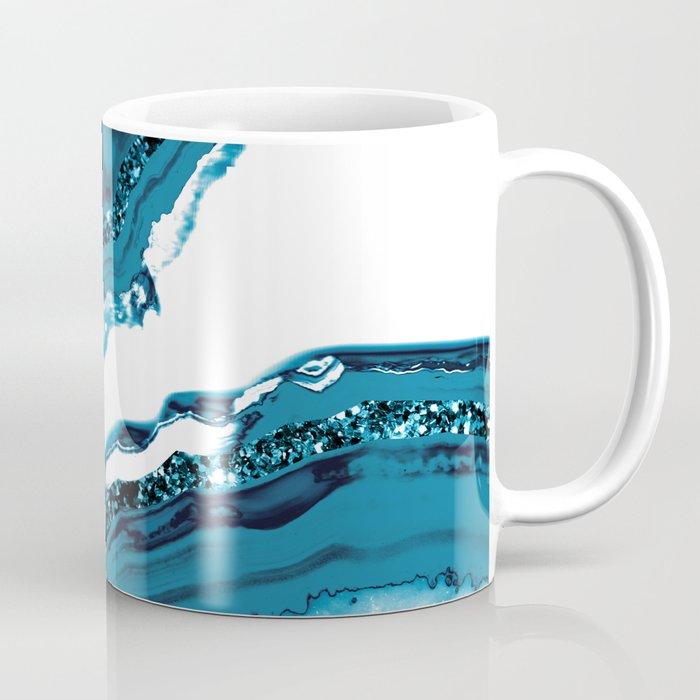 Blue Agate Glitter Glam #1 #gem #decor #art #society6 Coffee Mug