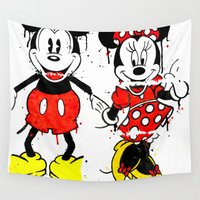 minnie Wall Tapestries featuring Mickey Minnie Mashed by Dave Seedhouse.com