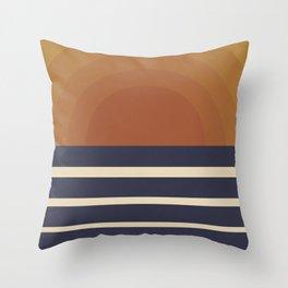 Retro Sunset Throw Pillow
