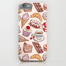 Hand drawn confectionery croissant Cupcake candy ice cream cake donut and coffee Slim Case iPhone 6