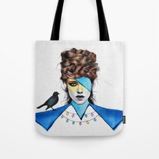 Blue Girl & Black Bird Tote Bag