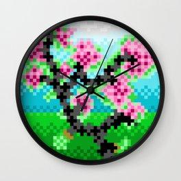 Pixel Art Bonsai Tree Wall Clock