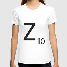 Letter Z - Custom Scrabble Letter Tile Art - Scrabble Z Initial T-shirt
