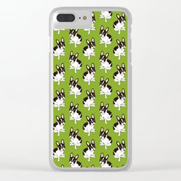 Cute double hooded pied French Bulldog wants your attention Clear iPhone Case
