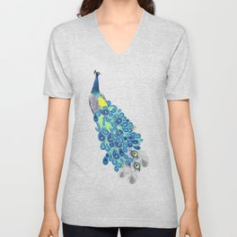Peacock - Green, Yellow and Gray Unisex V-Neck