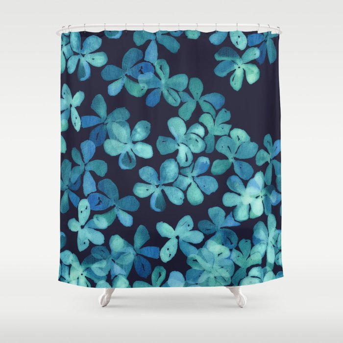 Hand Painted Floral Pattern In Teal Navy Blue Shower Curtain