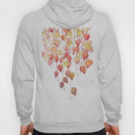 orange red crimson glory vine leaf watercolor Hoody