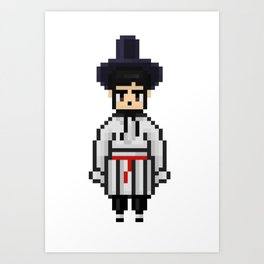 BTS SEOKJIN Hanbok Korean traditional clothes pixel art (small) Art Print