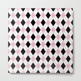 Pink, Black, White Argyle Pattern Metal Print