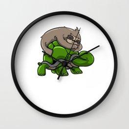 Sloth turtle sleeping Tired funny gift Wall Clock