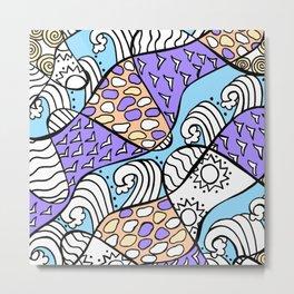 Doodle Art Drawing - Seagulls Rocks and Waves - Blue Purple Metal Print