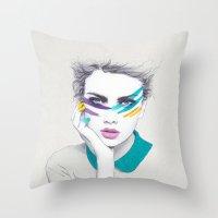 war Throw Pillows featuring War Paint Sally by Jenny Liz Rome