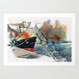 watercolor boat Art Print