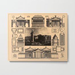 Iconographic Encyclopedia of Science, Literature and Art (1851) - Roman Temples 1 Metal Print