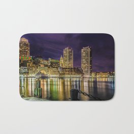 Boston Harbor with Christmas lights. Bath Mat