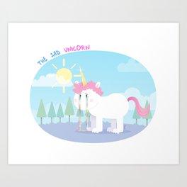 The sad unicorn Art Print