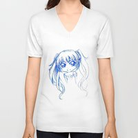vocaloid V-neck T-shirts featuring Miku FANART (sketch) by jannaj